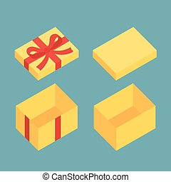 Christmas Box - Yellow open box for gifts Christmas and flat...