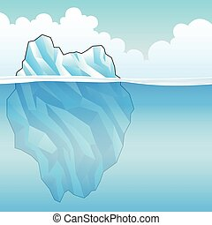 Blue Iceberg Vector Illustration - Blue Iceberg on a bright...