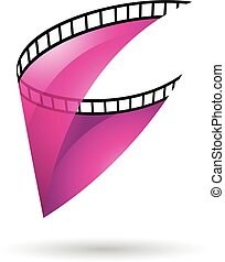 Magenta Transparent Film Reel Icon - Magenta Transparent...