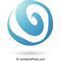 Blue Swirl Abstract Icon Illustration isolated on a white...
