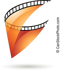 Orange Transparent Film Reel Icon - Orange Transparent Film...