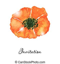 Poppy flowers. Greeting or invitation vector card. Hand drawn aquarel illustration.