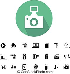 camera and media icon set