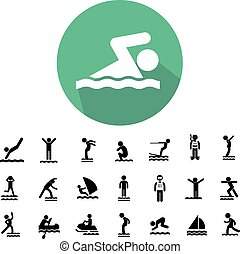 water sport icon set - water sport vector icon set