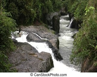 Rio Hollin - Running through rainforest in the Ecuadorian...