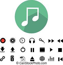 music button icon set