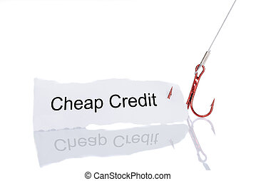 Cheap Credit Paper Trapped In Fishhook - Cheap Credit paper...