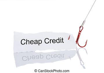 barato, crédito, papel, Apanhado, em, anzol,