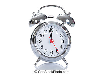 Alarmclock Over White Background - Metallic classic...