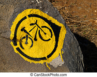 Mountain Bike Trial Sign in Nature Outdoors