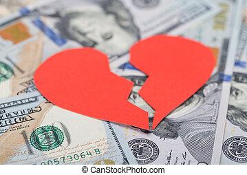 Broken Heart On Dollar Bills