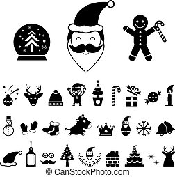 christmas icon set - vector christmas day icon set