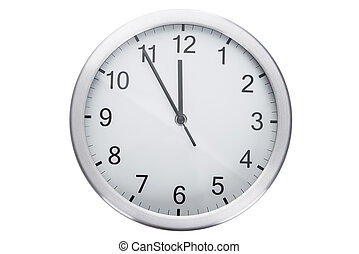 Clock Showing Five Minutes To Twelve