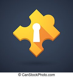 Puzzle piece icon with a key hole