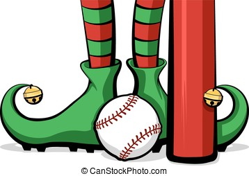 Baseball Christmas Elf Feet