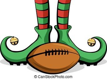 Football Christmas Elf Feet - Christmas elf feet with an...