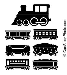 set train cars for travel or cargo delivery - set black...