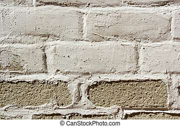 Brick wall with old painting - Brick wall with an old ruined...