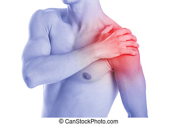 Man has shoulder contussion and pain - studio shoot