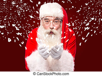 Wow ! this is so chill ! - Santa Claus blowing playing with...