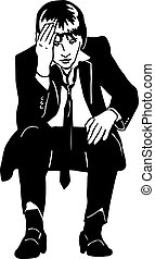 sketch of a man in a suit and tie grieved - black and white...