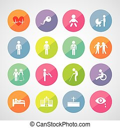 human life icon - vector basic icon set for human life