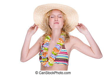 Happy bikini girl with lei
