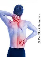 Man has pain in the neck and hips on the back - studio shoot