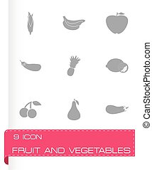 Vector fruit and vegetables icons set