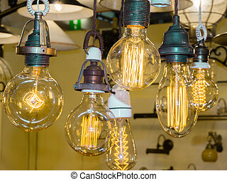 old carbon light bulb Filament, amber edison bulb