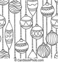 monochrome, black and white seamless Pattern With Christmas Balls