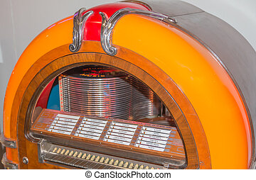 retro vintage jukebox record player - Old fashioned jukebox...