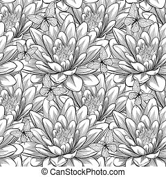 Beautiful monochrome, black and white seamless pattern with...