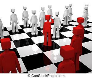 Checker board game world peace concept