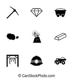 Vector black mining icons set on white background