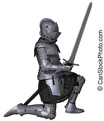 15th Century Medieval Knight Kneels - Fifteenth Century late...