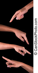 womans finger pointing or touching - image of a womans...