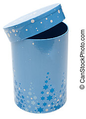 Blue cylindrical small box on white background