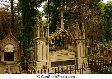 sepulcher - tomb in the form of a stone statue of a Catholic...