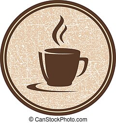 texture coffee cup icon - texture brown coffee cup icon in...