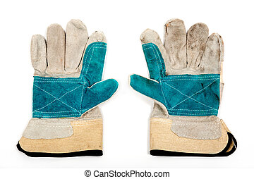 Working gloves - Leather work gloves on a white background
