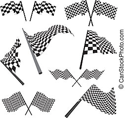 set of racing flags - Set of black and white checked racing...