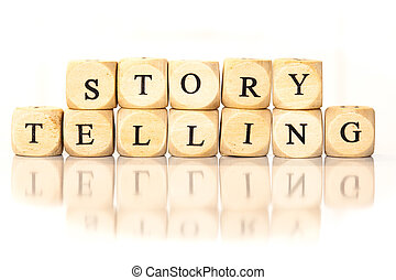 Story Telling spelled word, dice letters with reflection -...