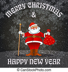 new year santa - chistmas and new year greeting card