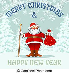 new year santa02 - chistmas and new year greetin card,...