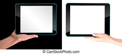Touch screen tablet computer with hand - Touch screen tablet...