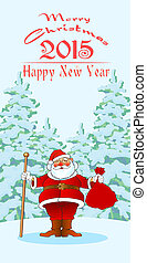 new year santa03 - chistmas and new year greetin card,...