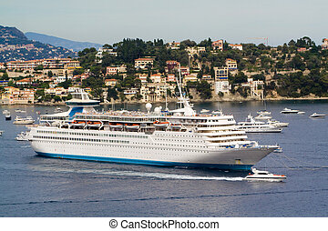 Big cruise ship on a berth in the Mediterranean sea