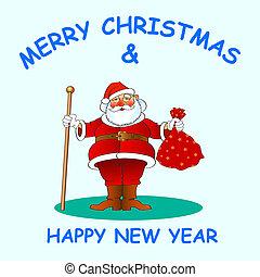 santa 02 - chistmas and new year greetin card, vector...