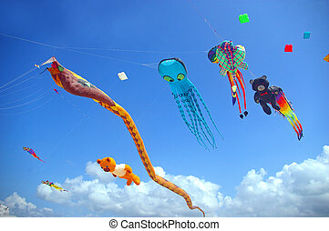 Creative kites being flown at the Sanur beach games, Sanur,...
